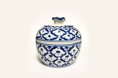 a folk pottery with blue-white color