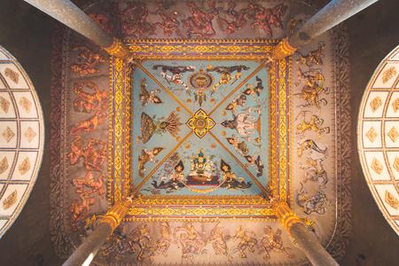 Ceiling of Patuxai, a memorial monument, in Vientiane, Laos