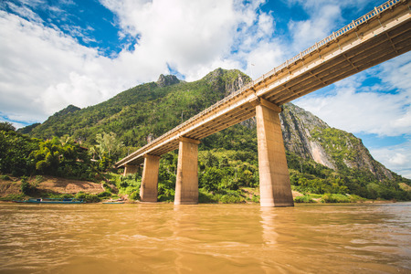 Great bridge across Mekong River, Laos Stok Fotoğraf