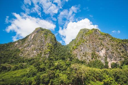 Landscape of twin mountains, Laos Stok Fotoğraf