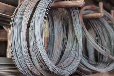Steel wires sale at storehouse Stok Fotoğraf