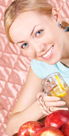 The healthy, beautiful girl propagandizes a healthy way of life Stock Photo - 2450259