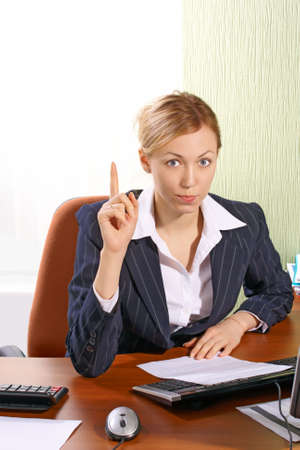 The business woman at office calls for attention Stock Photo - 2483885