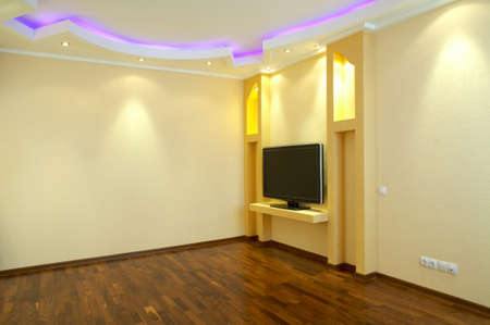 ceiling lamp: Room interior in fashionable style with illumination