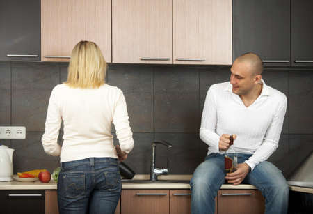 he laughs: The pair on kitchen - it costs back, he laughs