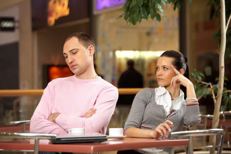 indifferent: A man and a woman after a quarrel Stock Photo