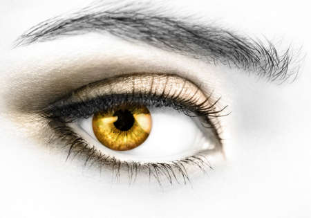 B&W photo of a right womans eye with colored golden eyeball photo