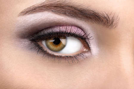 Close up of a female right eye with a bright make-up Stock Photo - 4620853