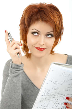 Portrait of the girl solving the mathematical problem, isolated photo