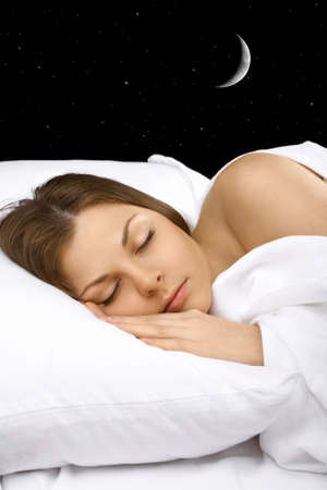 Portrait of the sleeping woman against the star sky, vertically Stock Photo - 4785703