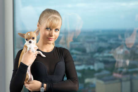 The elegant young woman at a window with the tiny doggie on hands photo