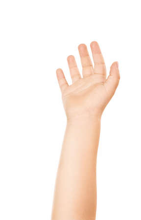 chiromancy: Sight of a palm of childrens hand lifted upwards, isolated   Stock Photo