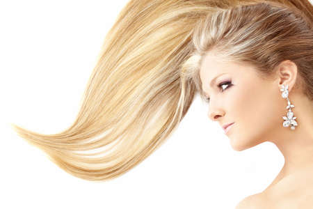 Profile of lying beauty with the smart hair, isolated   Stock Photo