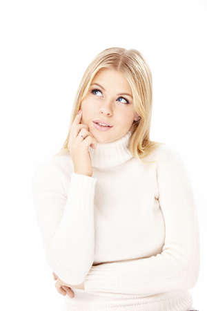 Portrait of the thoughtful blonde isolated on a white background Stock Photo - 6031024