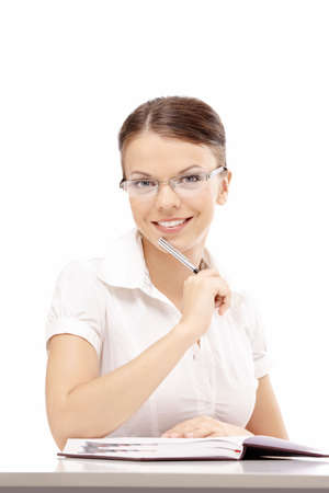 Woman with notepad on white background photo