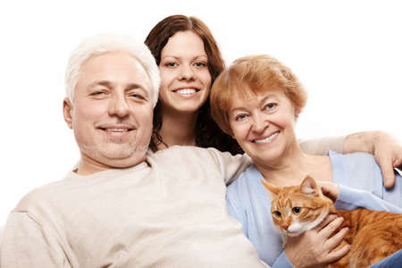 Cheerful families and a cat on a white background photo