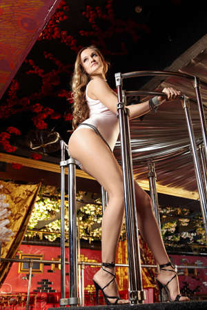 The sexual girl dances a striptease in club Stock Photo - 6439814