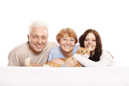 Happy family together with a cat on a white background photo