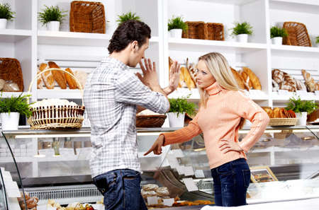 irritating: The young girl swears at the man in shop