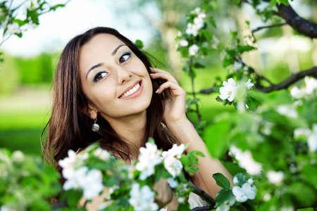 nice girl: The nice girl in greens of trees