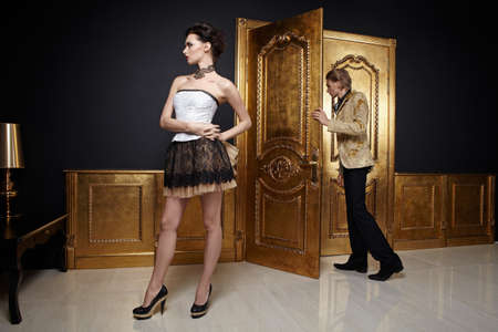 doorways: The man leaves, the girl remains in a room