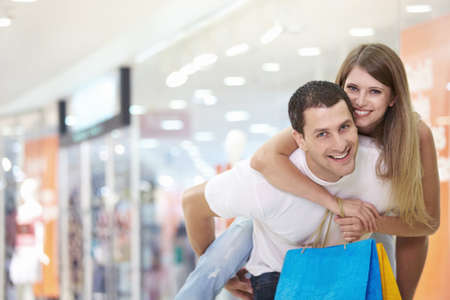 Love happy couple in the store photo