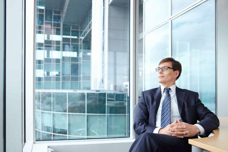 ceo: Businessman wearing glasses on the background of a large window in the office