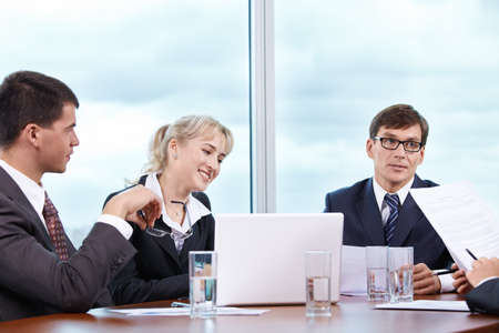 Discussion of working moments in the office photo