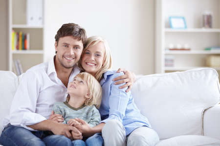 family  room: A happy family with a child