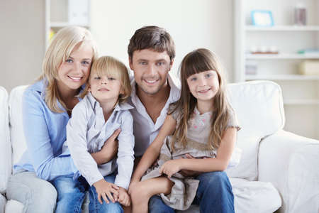 family living: A happy family with two children