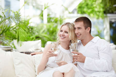 A happy young couple in a cafe Stock Photo - 8096726