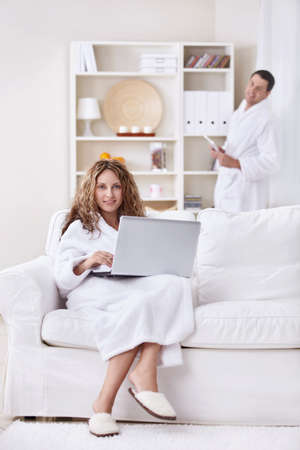 Young married couple in the morning at home photo