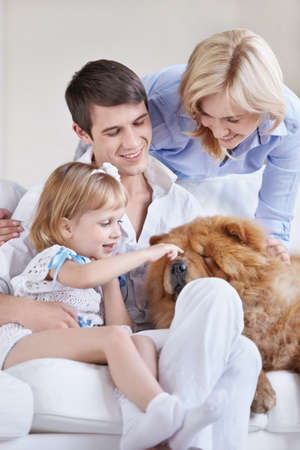 Young parents and the child playing with a dog photo