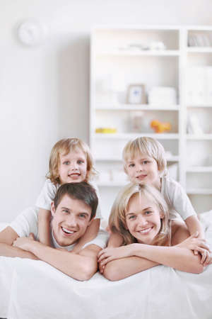 Young families with children at home Stock Photo