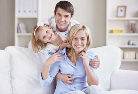 female portrait: Portrait of a happy family home