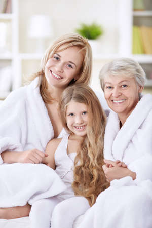 granddaughters: Mom, daughter and granddaughter at home Stock Photo