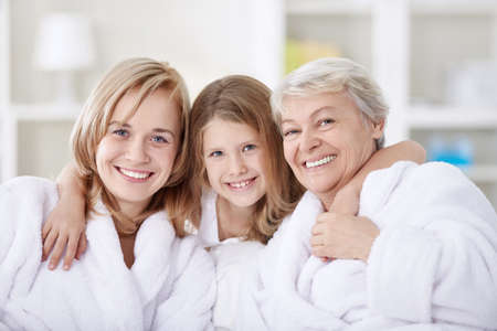 3 generation: Three generations of women in the home Stock Photo