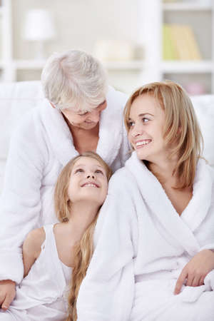 Attractive happy family at home Stock Photo - 8417435