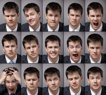 gestos de la cara: Hombre de imagen emocional en un traje de negocios