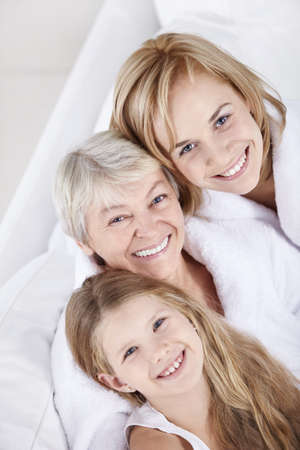 grandmother grandchild: Portrait of a happy smiling family Stock Photo