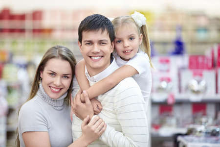 Portrait of smiling families at the store photo