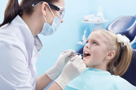 The dentist treats teeth patient photo