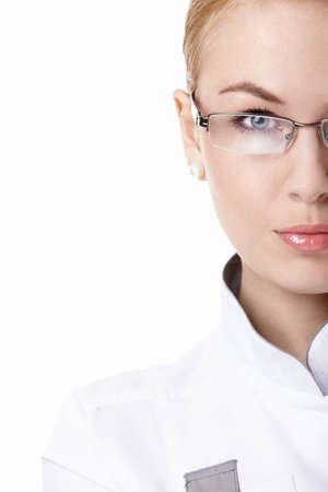 scientist woman: Attractive female doctor in glasses close up