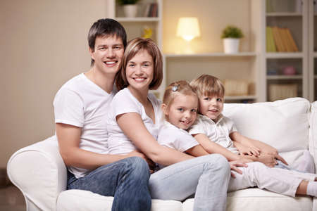 Families with children at home in the evening Stock Photo - 8969647