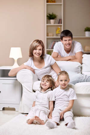 Families with children at home in the evening Stock Photo - 8969648