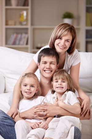 four person: Families with children at home in the evening