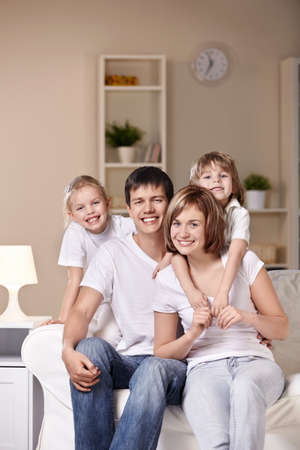 Young families with children at home in the evening Stock Photo - 8961997