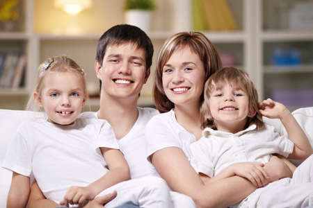 Families with children in the evening at home Stock Photo - 8962073