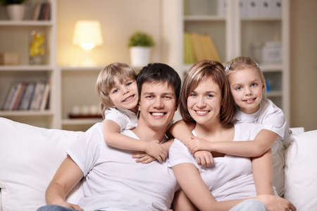 Families with children in the evening Stock Photo - 8962063
