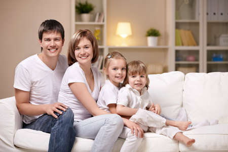 Families with children in the evening at home Stock Photo - 8962072